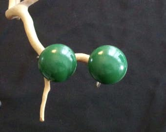 1940s Green Earrings, Vintage Earrings, Mid-Century Fashion