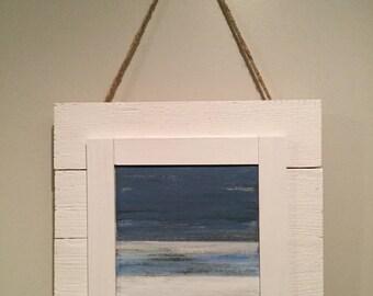 Blue abstract art, modern art, modern water art, abstract art on pallet wood, blue painting, nature inspired art, lake art, water artwork