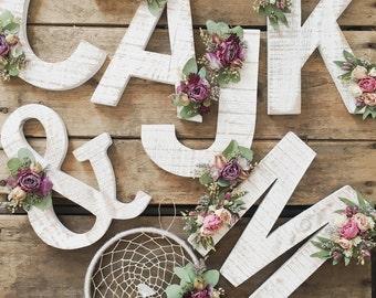 Wildflower Wooden Letter | Floral Letter | Wooden Letter | Shabby Chic | Boho | Nursery Decor | Botanical Art | Wallhanging | Baby Girl