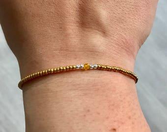 24k gold plated Swarovski/miyuki bracelet, gold bracelet, Swarovski sunflower, bridesmaids gift, friendship bracelet, Christmas present