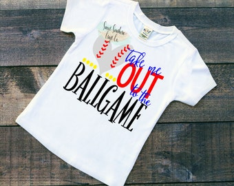 FREE SHIPPING***Take Me Out To Ballgame Baby Bodysuit, Youth Sizes Available,  ANY Sport, Basketball, Baseball, Football, Soccer, Volleyball