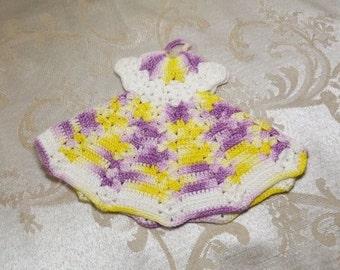 Vintage 50s Crochet Dress Pot Holder Handmade Crocheted Fashion Trivet Hot Pad