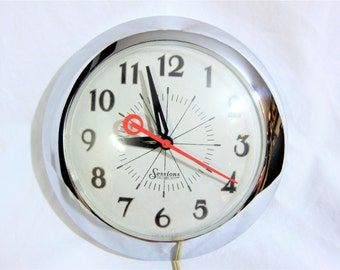 Sessions Chrome Kitchen Diner Electric Wall Clock 1950s