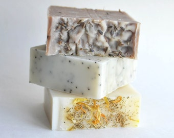 Three Handmade Cold Process Soaps | All natural soap, herbal soap, moisturizing soap