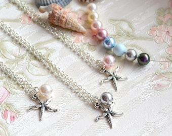 Bridesmaid gift set of 6 Starfish necklace set of 6 six Bridesmaid proposal Bridesmaid necklace Bridesmaid Jewelry Starfish Beach necklace