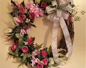 Magenta Wreath, Rose Outdoor Wreath, Summer Wreath, Front Door Rose Wreath, Rose Grapevine Wreath, Rose Front Door Grapevine Wreath