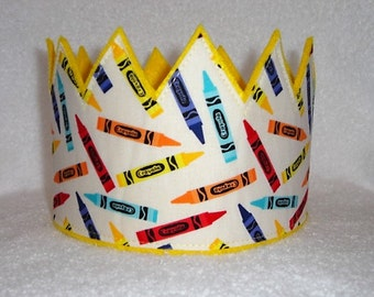 Crayon Crown, Birthday Crown, Crayon Birthday Suppies, Birthday Party Hat, Birthday Crown, Felt Play Crown, School Crown, dress up crown