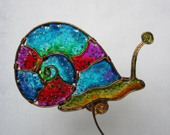 Personalized cake topper, Custom decor, Birthday keepsake, Snail cake topper, Wire party decorations, Faux stained glass, Multicolored decor