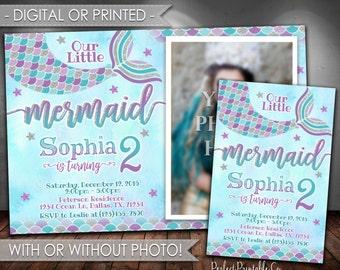 Mermaid Birthday Invitation, Mermaid Invitation, Mermaid Birthday Party Invitation, Mermaid Invite, Teal Purple Silver, Girl Mermaid, #598