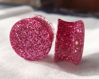 Dark Pink Glitter Plugs (Available for Stud Earrings)