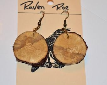 Real Tree Stump Woodland Nature Earrings