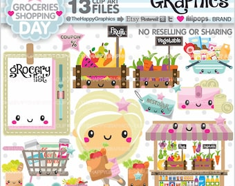 80%OFF - Grocery Cliparts, Grocery Graphics, COMMERCIAL USE, Groceries, Shop Graphics, Planner Accessories, Shopping Girl, Shopping