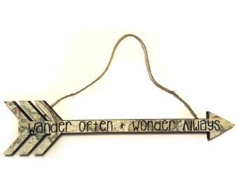 "For the adventurer, ""Wander Often + Wonder Always"" arrow wall hanging"