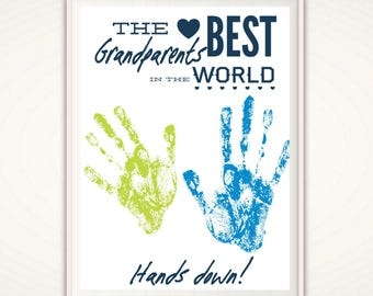 Grandparent Gift - Personalized Grandparents Day Gifts, Gifts for Grandparent, Gift from Grandkids, PRINTABLE DIY Handprint Art, Christmas