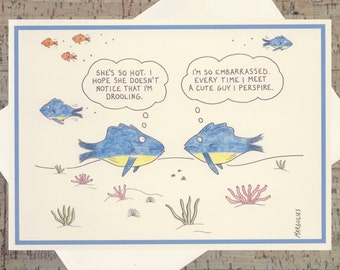 Funny Romance Card, Funny Relationship Card, Funny Dating Card, Funny Card, Humor Card, Ocean Card, Funny Fish, Quirky Card, Nautical