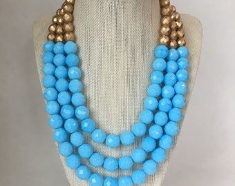 Light Blue Beaded Necklace, Blue Beaded Statement Necklace, Light Blue Bib Necklace, Bridesmaids Statement Necklace, Chunky Beaded Necklace