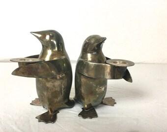 Vintage Silverplate Penguin Candle Holder