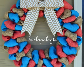 Coral, Turquoise & Natural Burlap Wreath, Summer Beach Wreath, Bright Nautical Wreath, Everyday Chique Wreath *CHOOSE your SIZE!**