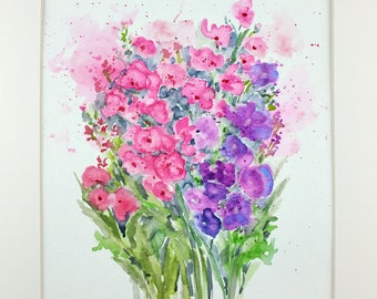 Wildflower Watercolor, Wildflowers, Wildflower Painting, Floral Art, Floral Watercolor, Wildflower Painting, Home Decor, Gift