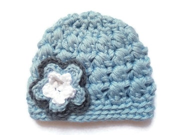 Light Blue Baby Beanie with Flower