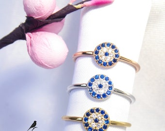 Lucky Evil Eye Band Ring 925 Silver Yellow Rose Gold