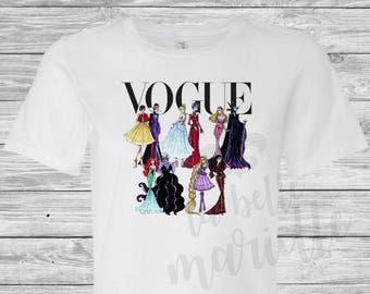 Ladies Disney Vogue Princess and Villain Collage Shirt - Disney Vogue Shirt