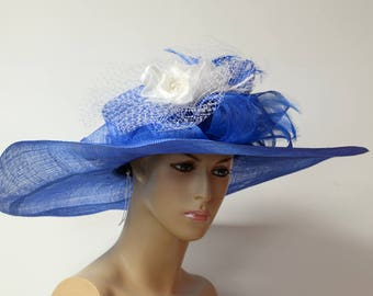 Decorated with multi-color silk flowers, Elegant Sinamay hat, wide soft brim,very high quality, light,comfortableEnglish Royal,Wedding Hat,