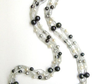 Multi Strand Fresh Water Pearl Silver Necklace