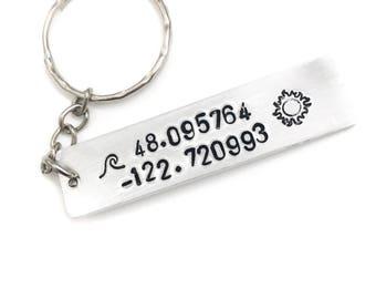 Custom Coordinates Hand Stamped 16g aluminum Keychain | keyring | personalized | customized | latitude and longitude | stamped metal