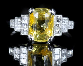 Yellow Sapphire Diamond Ring Platinum 2.85ct Yellow Sapphire