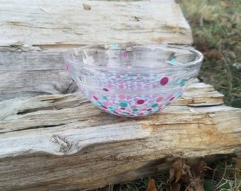Teal pink confetti jewelry bowl, teal pink polka dot jewelry bowl, pink confetti jewelry bowl, pink confetti jewelry bowl