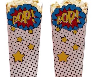 Popcorn Boxes | Comic Superhero Popcorn Boxes | Superhero Party | Pop Favor Boxes | Quality Paper Boxes | Party Supplies | The Party Darling