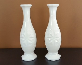 Milk Glass bud vase set of 2 two milk glass vases milk glass vase with star octogon avon vase vase set
