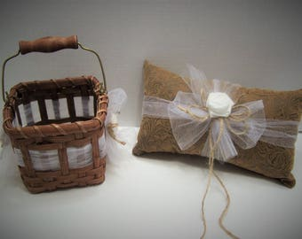 Rustic Western Country Chic Leather Look  Ring Bearer Pillow and Flower Girl Basket