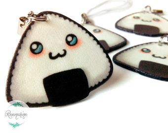 Chibi Onigiri, Kawaii, Sushi charm, Miniature food, Rice ball, Phone charm, Cute keychain, Notebook, Planner accessories