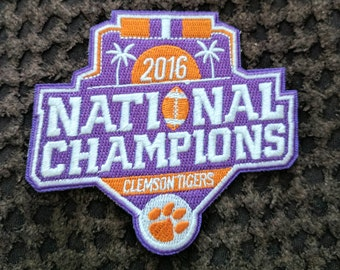 Clemson Tigers National Champions Iron On Patch 3 1/2 x 3 1/4 Free Shipping