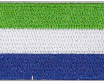 Small Sierra Leone Flag Iron On Patch 2.5 x 1.5 inch Free Shipping