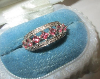 Rhinestone Ring, Pink, Sterling Silver, Size 10 ,  Vintage, 1980s