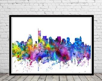 Boston, Boston Massachusetts, Massachusetts, Boston skyline, Office Art, colorful watercolor Boston, watercolor City Print(2791b)