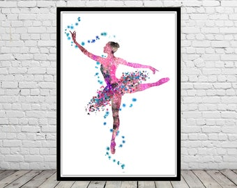Ballerina, Ballet Dancer, Ballerina print, Girl nursery decor, wall art, watercolor art print, watercolor painting ballerina  (3041b)