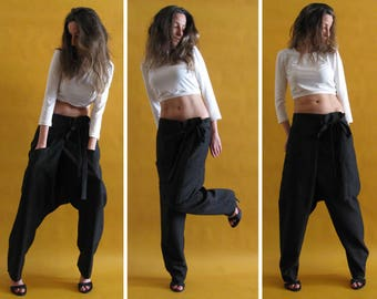 Maxi pants,Black harem pants, Drop crotch pants, Loose pants, Extravagand pants, Black trousers