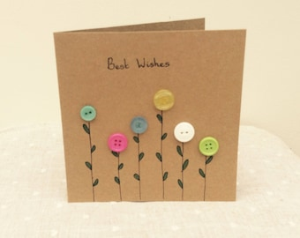 Flower garden, vintage button, kraft card-Best Wishes