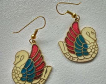 Vintage Cloisonne Swan Bird Pierce Drop Earrings