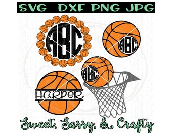 Basketball Monogram Svg, Basketball svg, basketball cut file, basketball svgs, SVG, DXF, PNG, jpg, cut files for Silhouette & Cricut