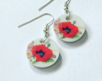 Upcycled china drop earrings/ Poppy dangle earrings/ floral drop earrings / cut china earrings