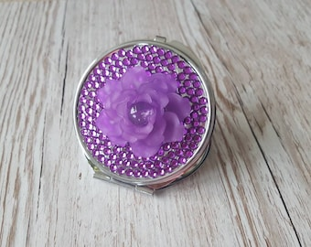 Compact mirror, purple pocket mirror, gifts for her, Christmas gift, birthday gift, unique gift, stocking gift, circle mirror, secret santa