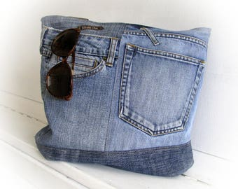 Denim bag Jeans bag Patchwork bag Handmade bag  Recycled jeans Jean handbag Jean patchwork Made of jeans