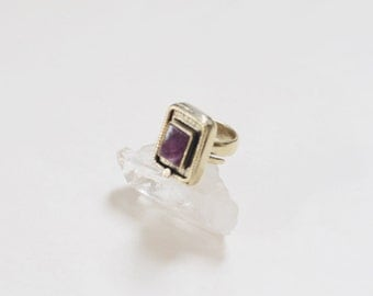Amethyst Square Brass Ring Protection Handmade