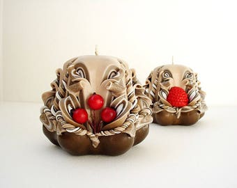 Housewarming gift-carved candles set of 2 candles, candles, Berry Brown candles-unique gift carved candles-small carved candles