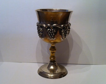 Vintage - Kiddush Cup - Judaica - Wine Goblet - Silver Plate